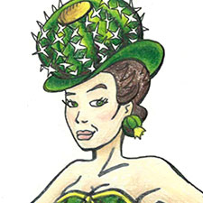 Illustration of show girl with desert plant costume