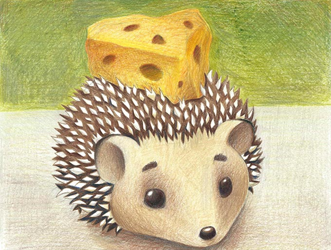 hedgehog illustration with cheese head