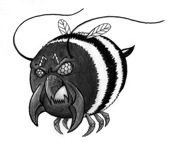 illustration of fat bee monster