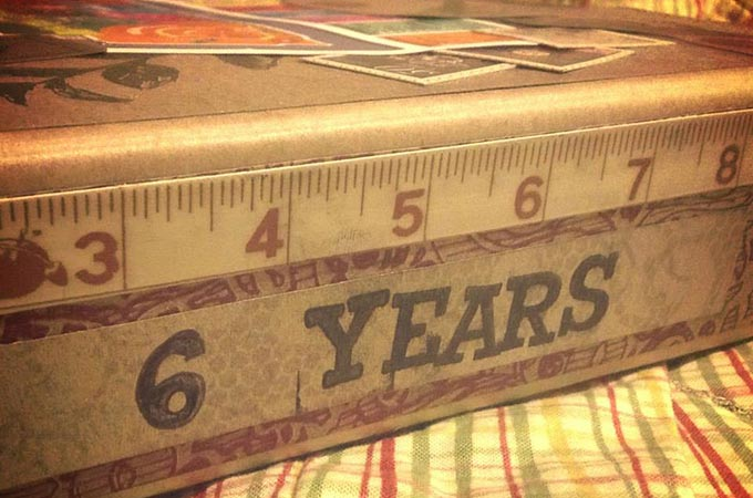 Side Binding of 6 year anniversary scrapbook