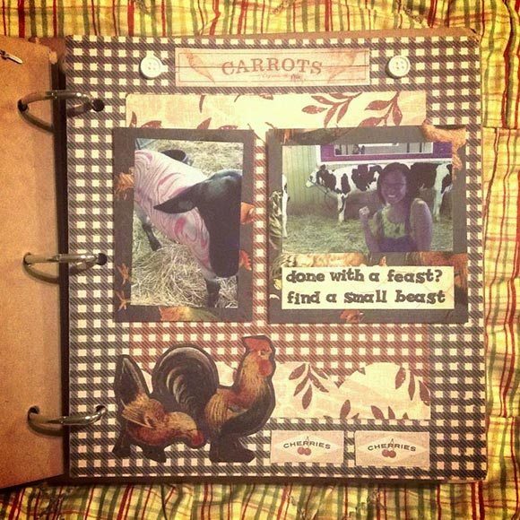 Proposal scrapbook page of OC Fair farm