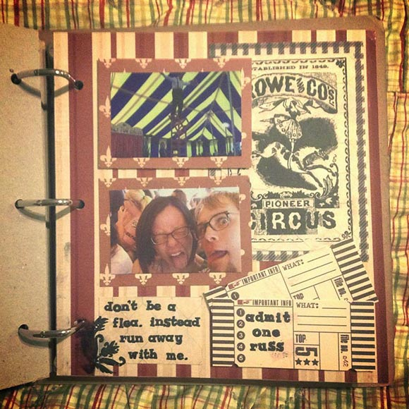 Proposal scrapbook page of OC Fair circus