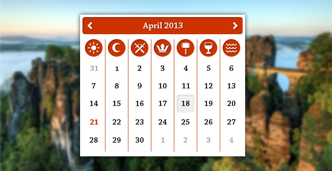 Fictitious calendar app with pagan icons