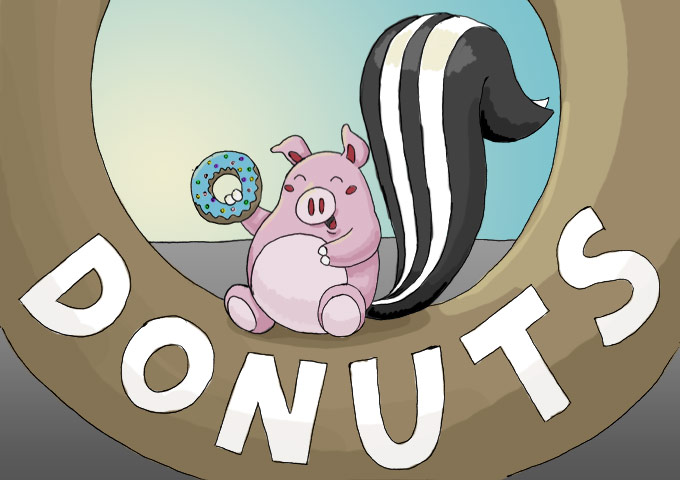 Illustration of pig skunk eating a donut on Randy's Donuts