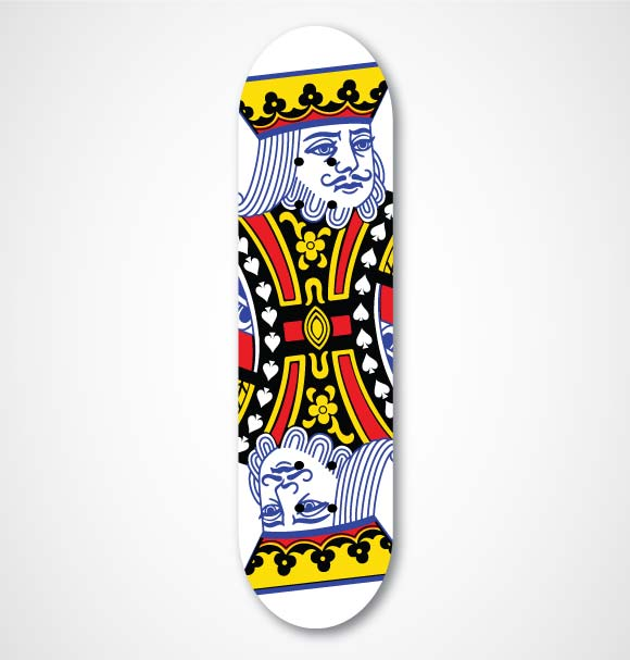 skateboard with the king of spades on it