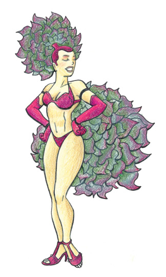 Illustration of show girl with aloe vera costume