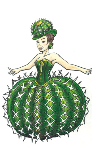 Illustration of show girl with cactus costume