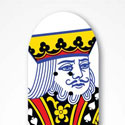 Playing card decorated skateboard