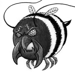 Illustration of giant bee monster