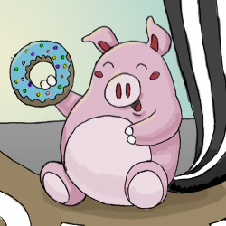 illustration of pig skunk eating a donut
