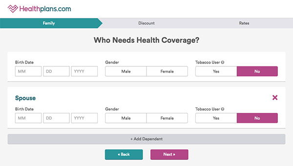 Enter eligibility information on Healthplans.com