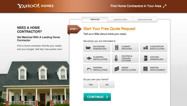 Example Yahoo! Homes contractor funnel